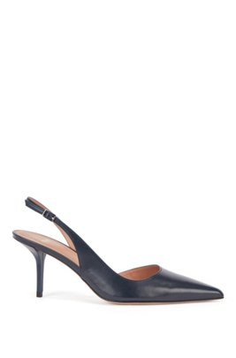 Slingback shoes in Italian leather, Dark Blue
