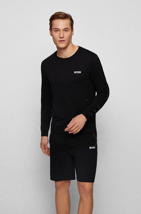 Cotton-terry loungewear sweatshirt with logo-tape trims, Black