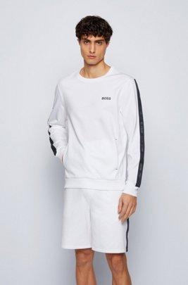Loungewear-Sweatshirt aus Baumwoll-Terry mit Logo-Tapes, Weiß