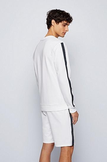 带徽标饰带饰边的棉质毛圈布家居运动衫,  White
