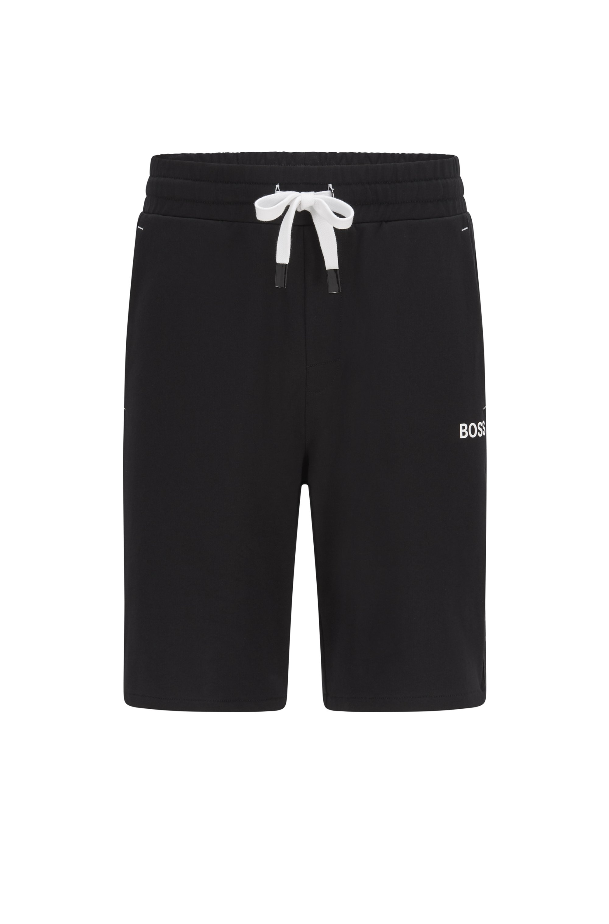Loungewear-Shorts aus Baumwoll-Terry mit Streifen und Logo-Tape an der Seite, Schwarz