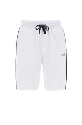 Loungewear-Shorts aus Baumwoll-Terry mit Streifen und Logo-Tape an der Seite, Weiß