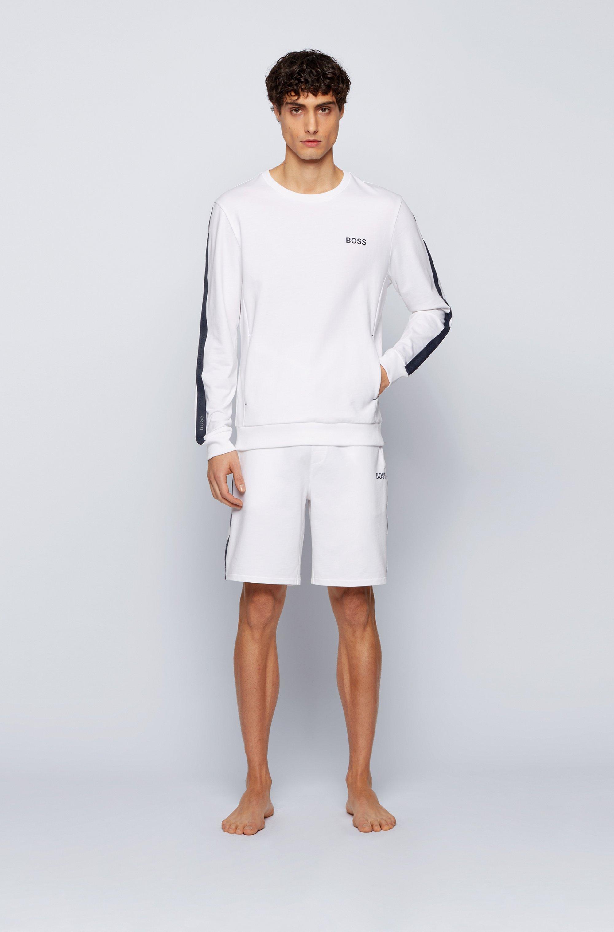 Loungewear-Shorts aus Baumwoll-Terry mit Streifen und Logo-Tape an der Seite