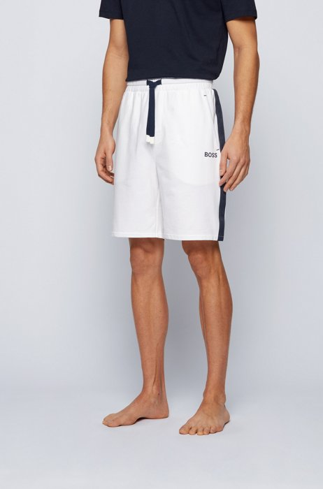 Cotton-terry loungewear shorts with logo-tape side stripes, White