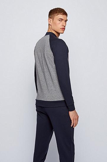 常规版型裁剪弹力棉家居便服夹克,  403_暗蓝色