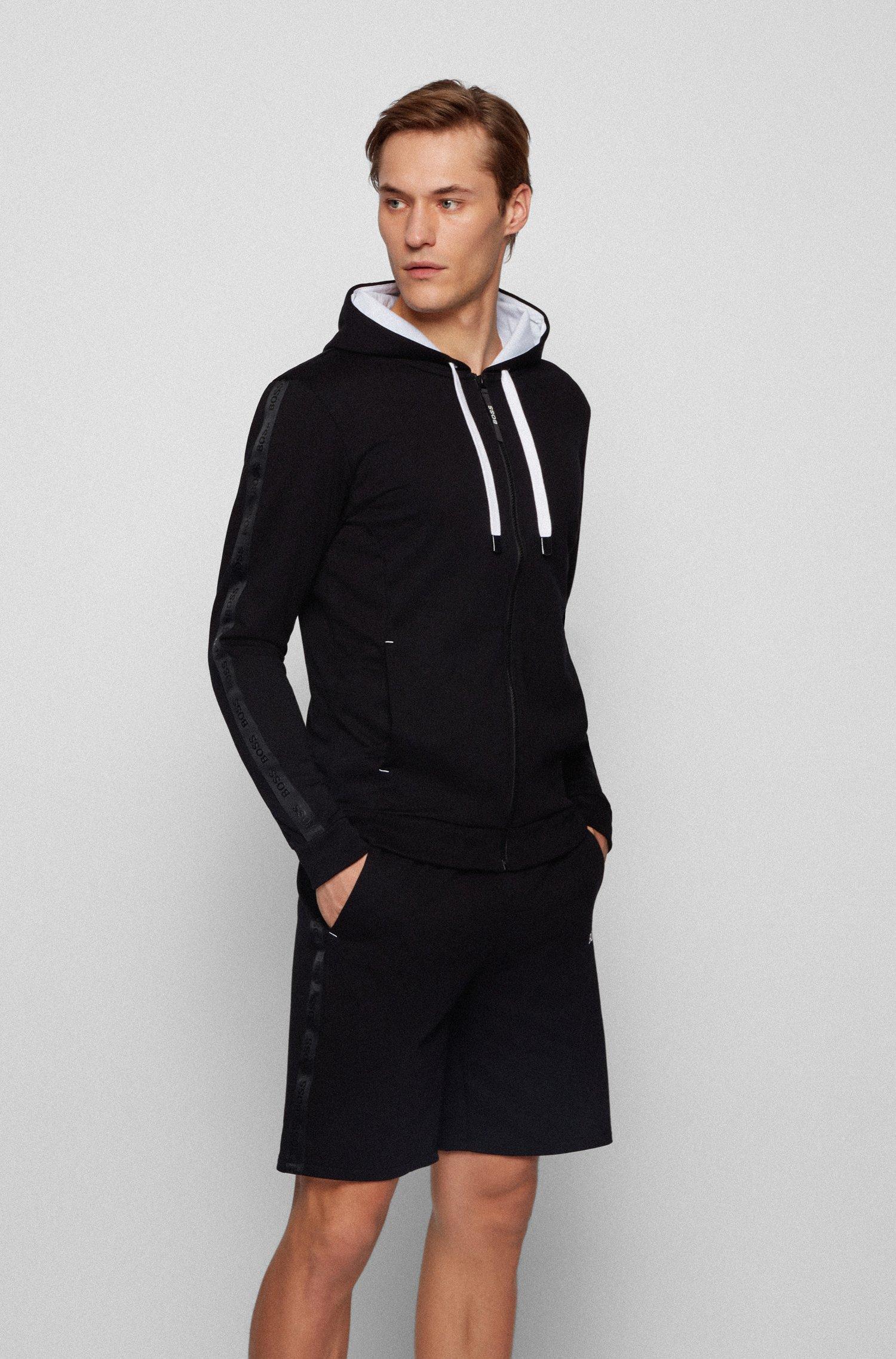 Loungewear-Kapuzenjacke aus French Terry mit Logo-Tape, Schwarz