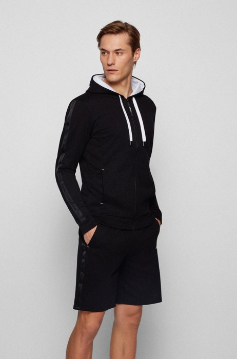 French-terry-cotton hooded loungewear jacket with logo-tape trims, Black