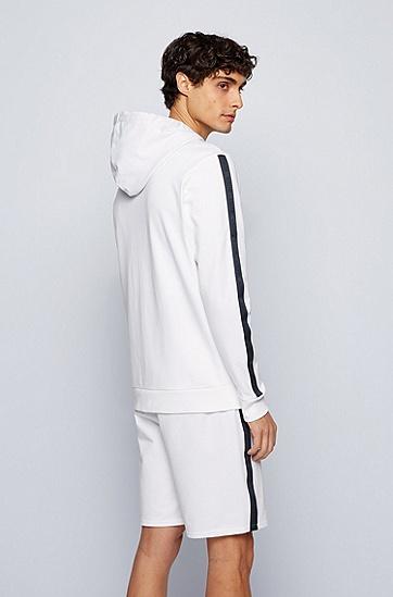 徽标饰带装饰法国棉质毛圈布连帽家居夹克,  White
