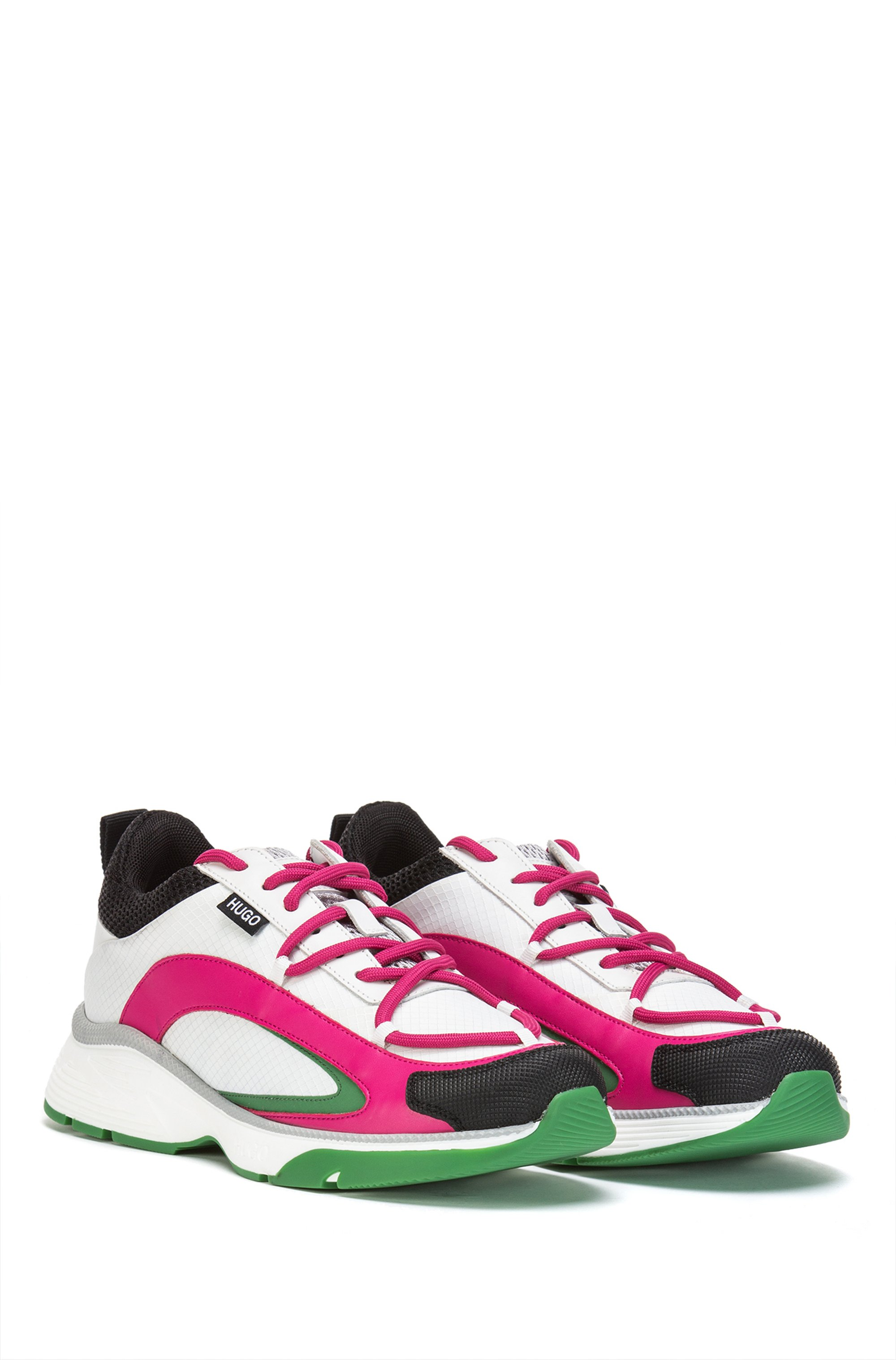 Pop-colour running-style trainers in mixed materials