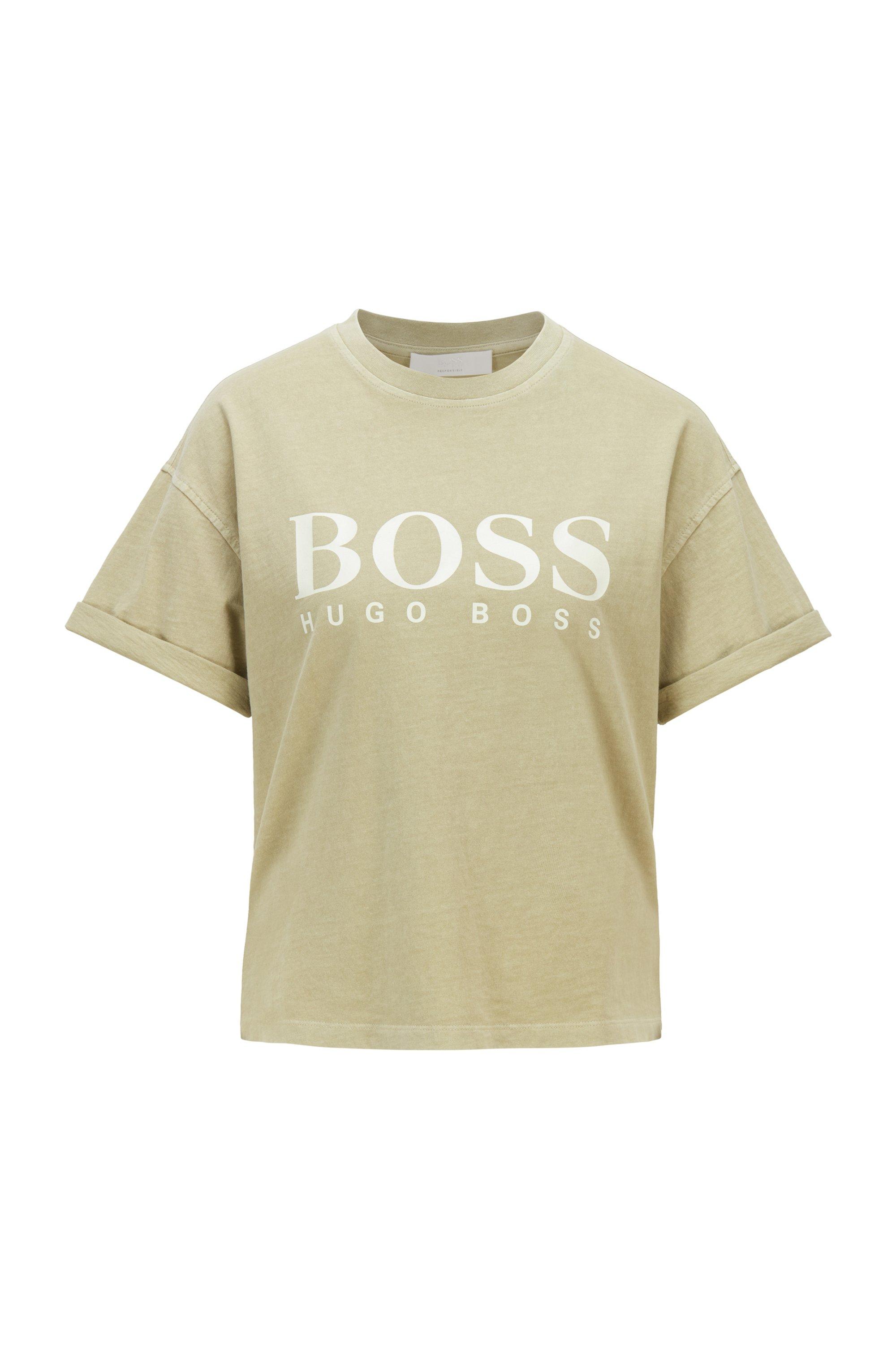 T-shirt en jersey de coton biologique teint en pièce, avec logo, Vert sombre