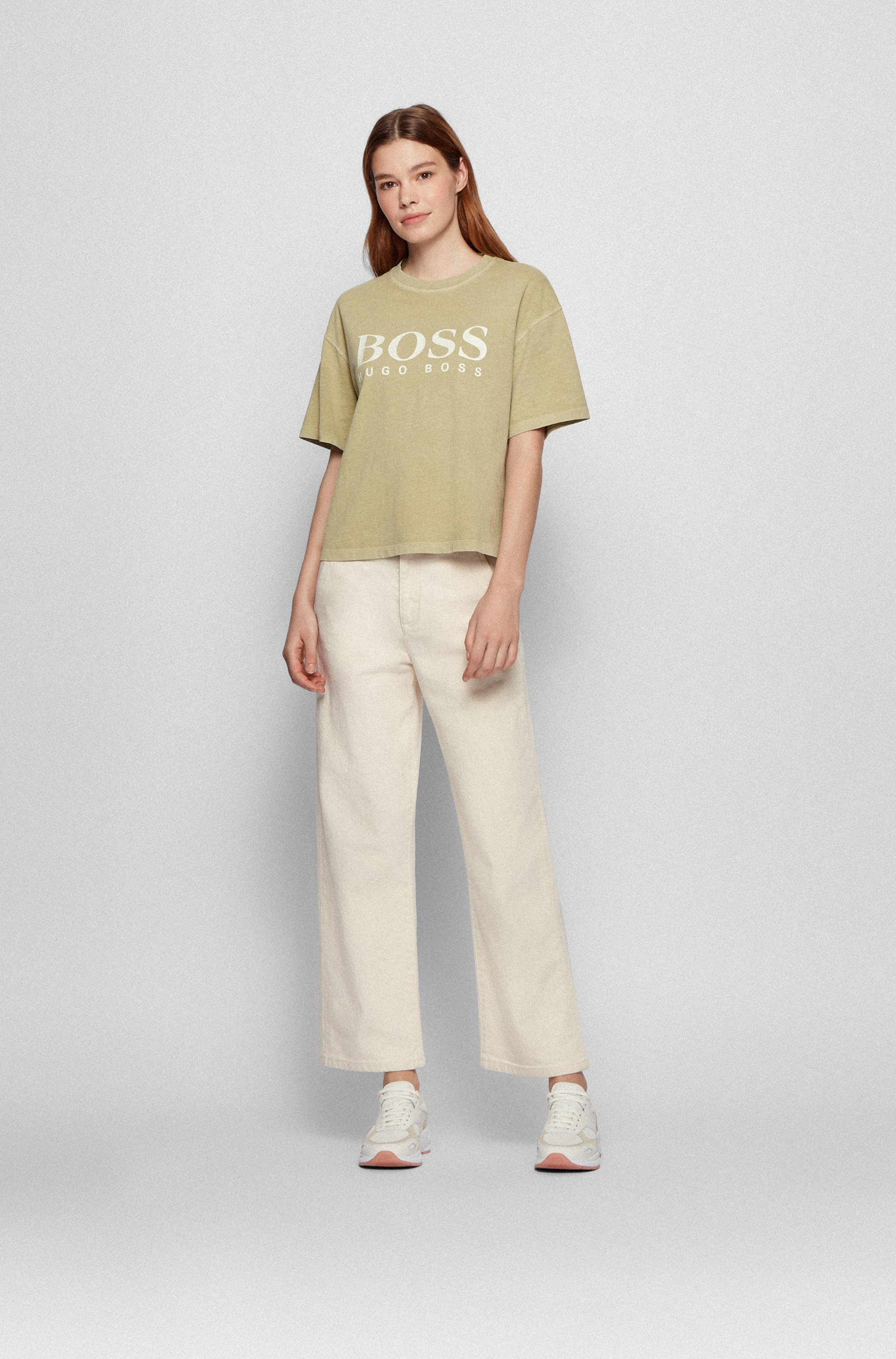 Garment-dyed logo T-shirt in organic-cotton jersey