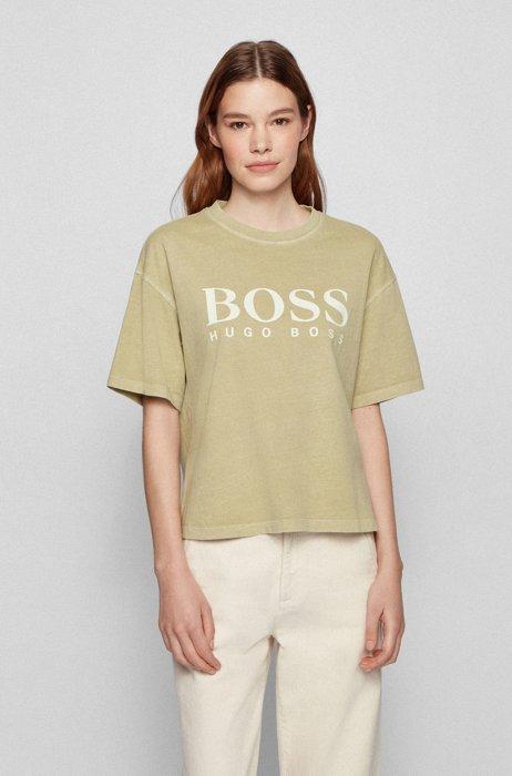 Garment-dyed logo T-shirt in organic-cotton jersey, Dark Green