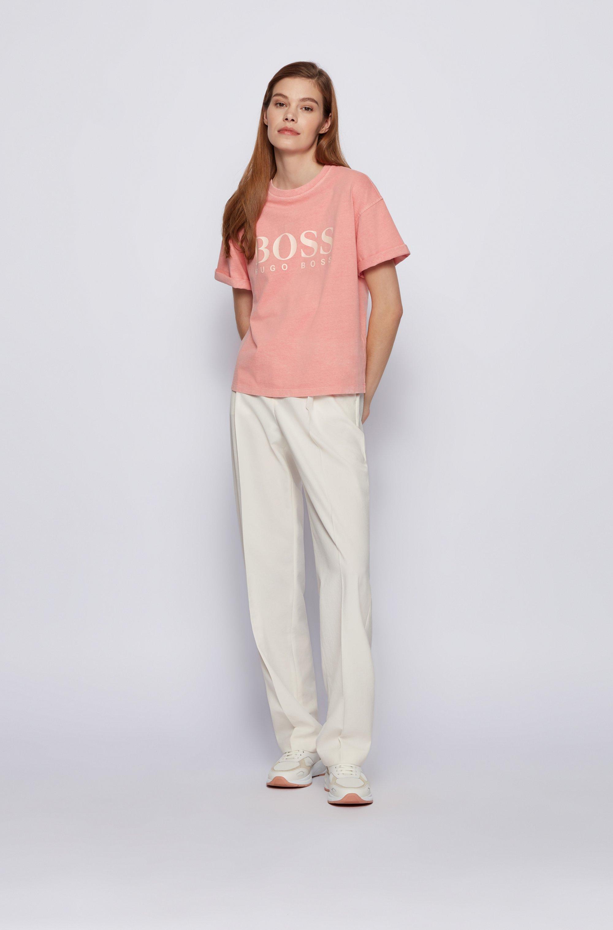 Camiseta con logo teñida en prenda en punto de algodón orgánico