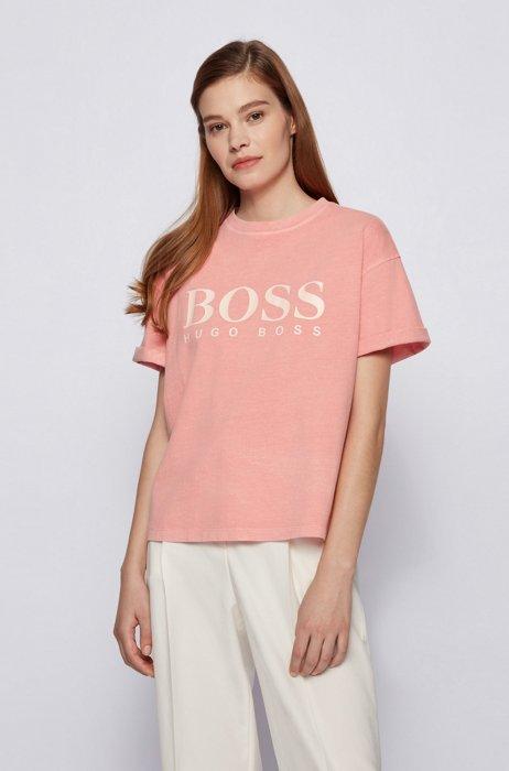 T-shirt en jersey de coton biologique teint en pièce, avec logo, Rose