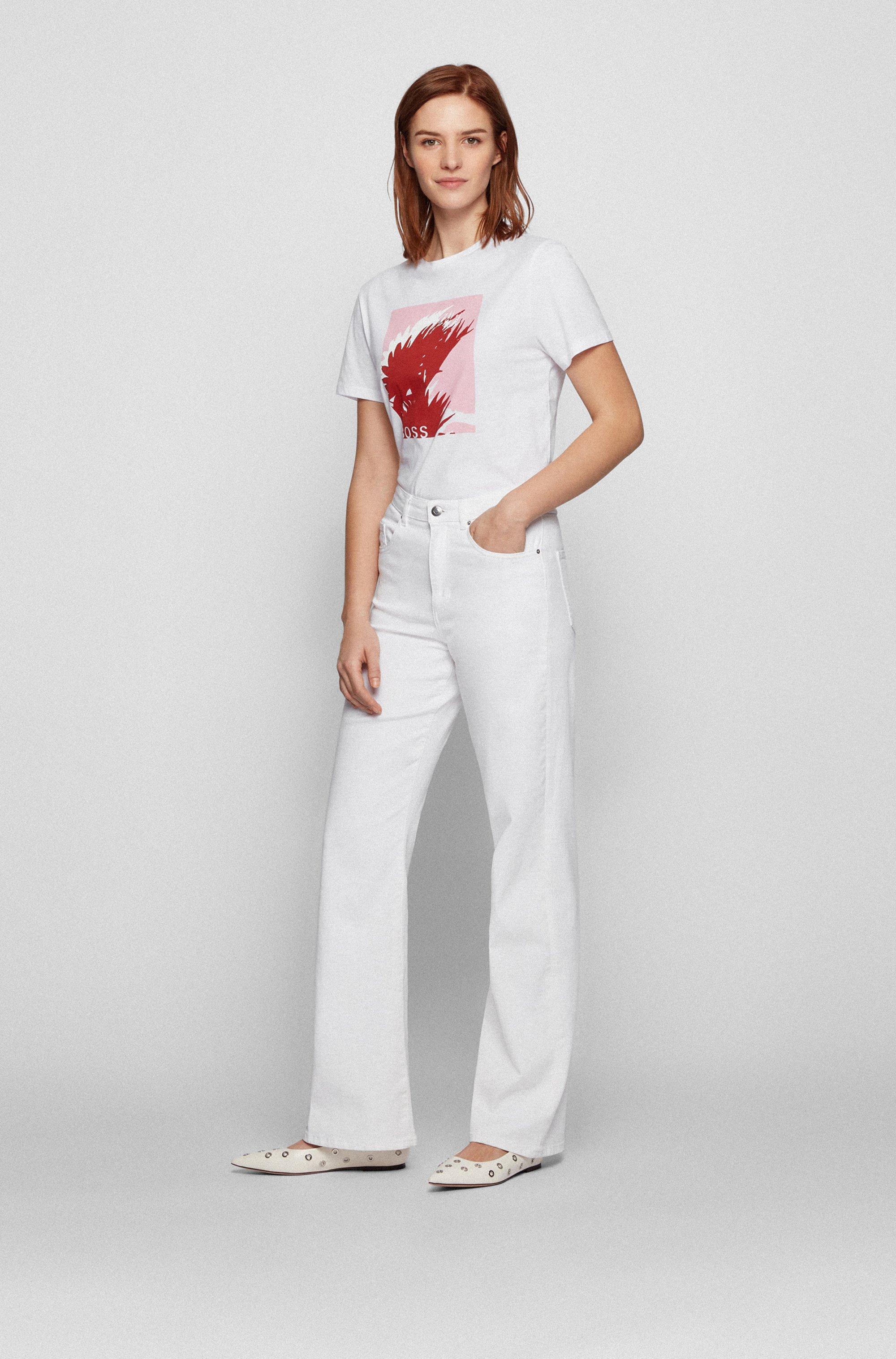 Camiseta de algodón orgánico con estampado gráfico y cuello redondo