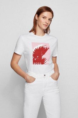 Camiseta de algodón orgánico con estampado gráfico y cuello redondo, Blanco