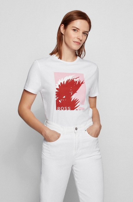 Crew-neck T-shirt in organic cotton with graphic print, White