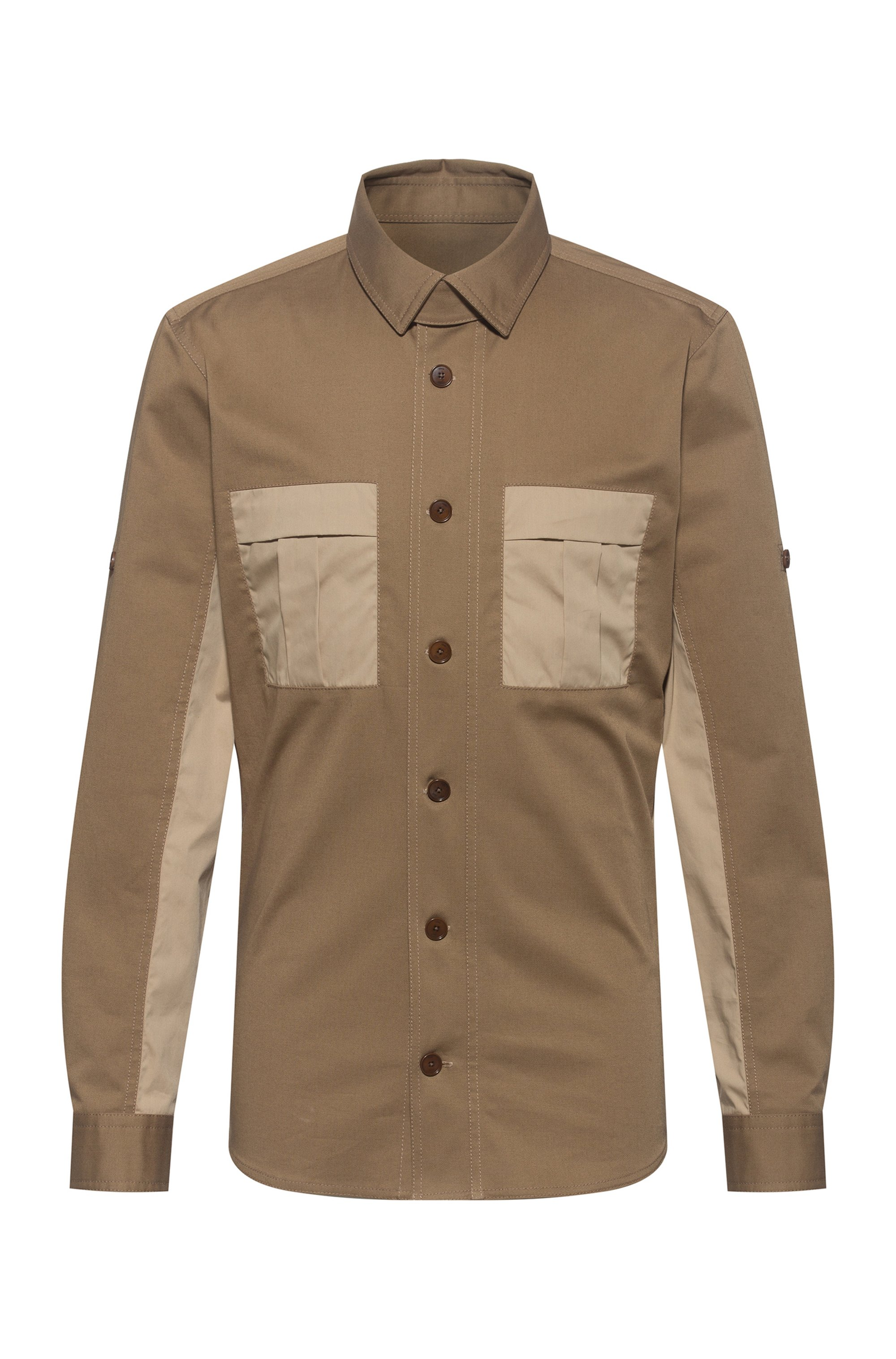 Unisex oversized-fit shirt with contrast chest pockets, Beige