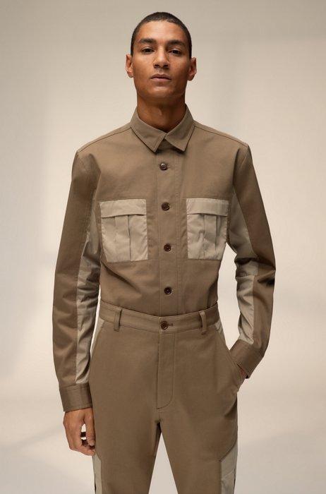 Uniseks oversized-fit overhemd met contrasterende borstzakken, Beige
