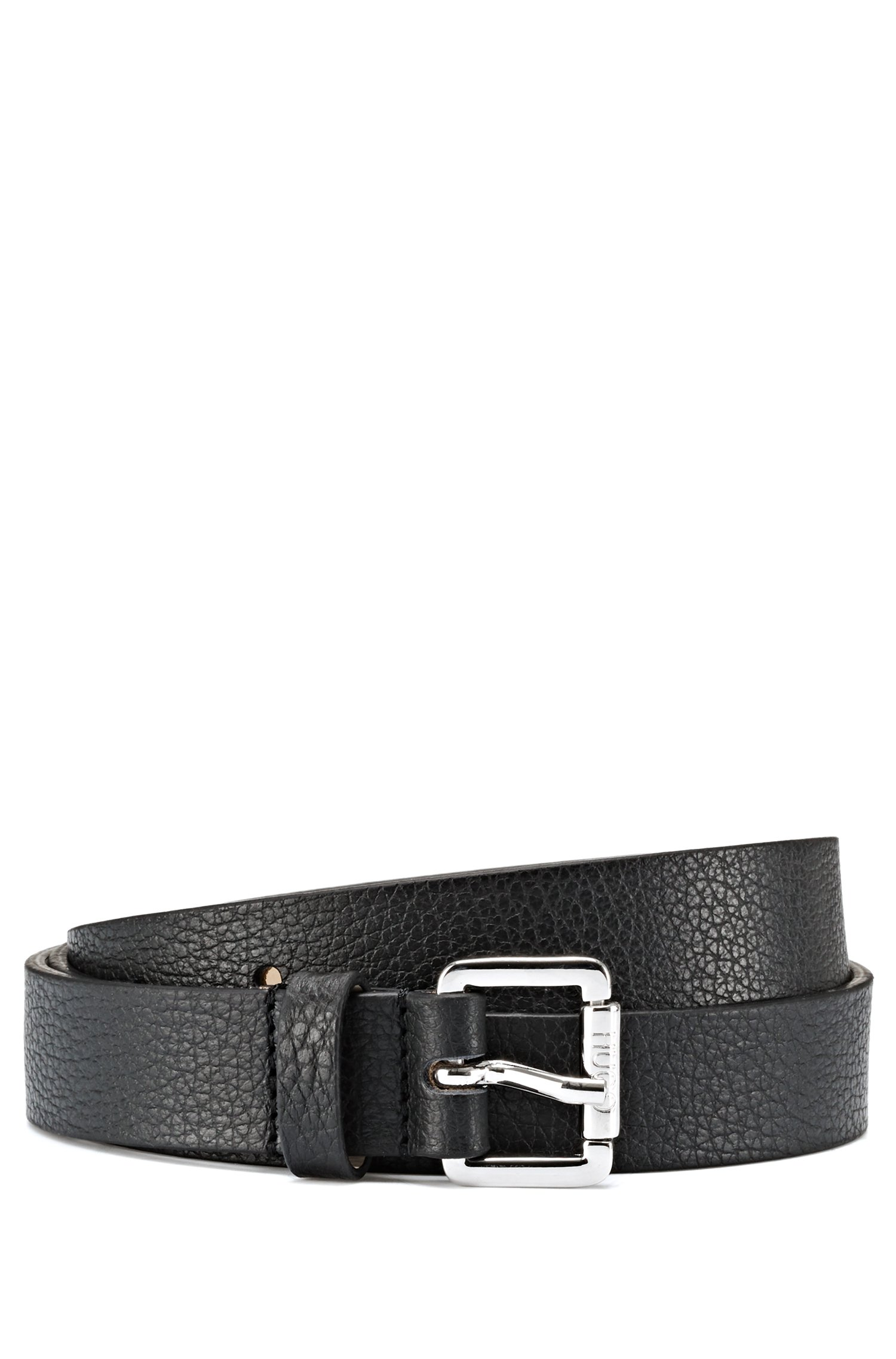 Grainy Italian-leather belt with roller buckle, Black