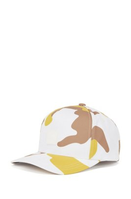 Camouflage-print cap with logo patch, Beige Patterned