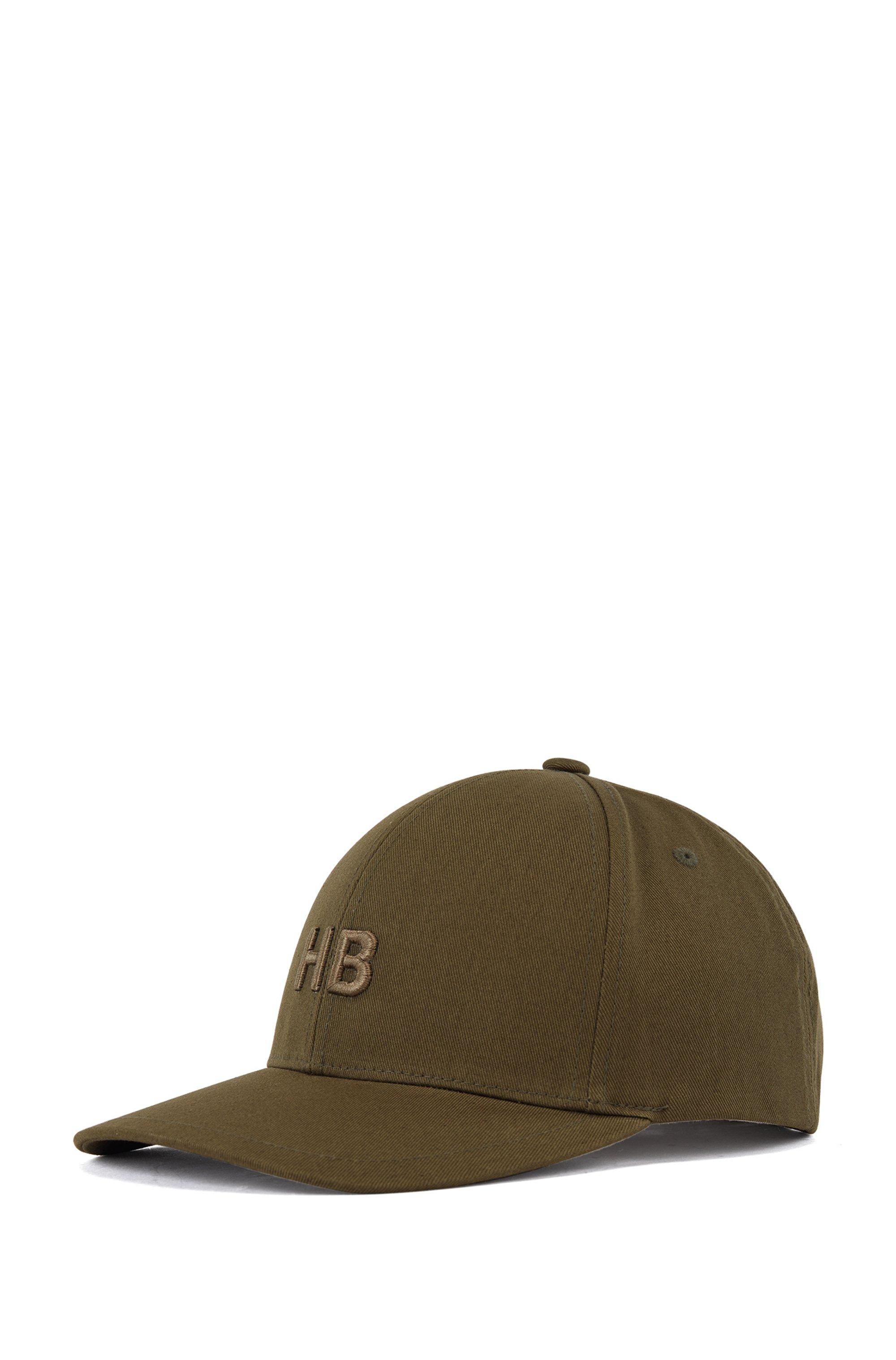 Cappellino con monogramma in twill di cotone, Kaki
