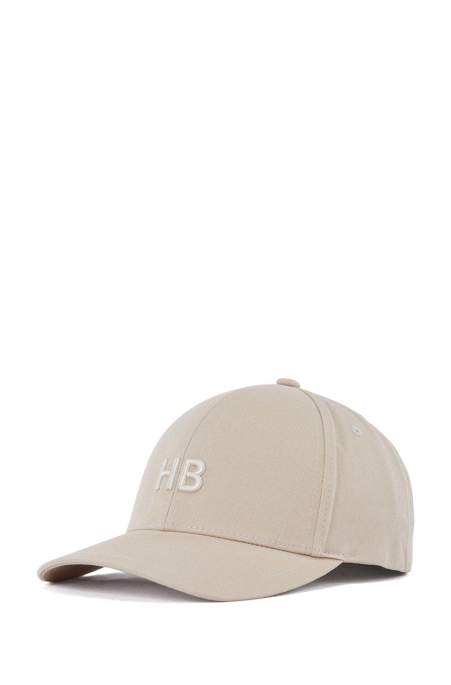 Monogram cap in cotton twill, Light Beige