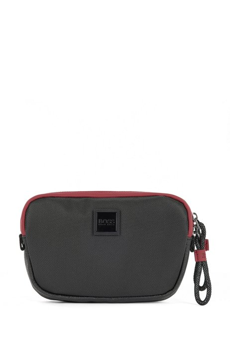 Mixed-material belt bag with logo patch, Black