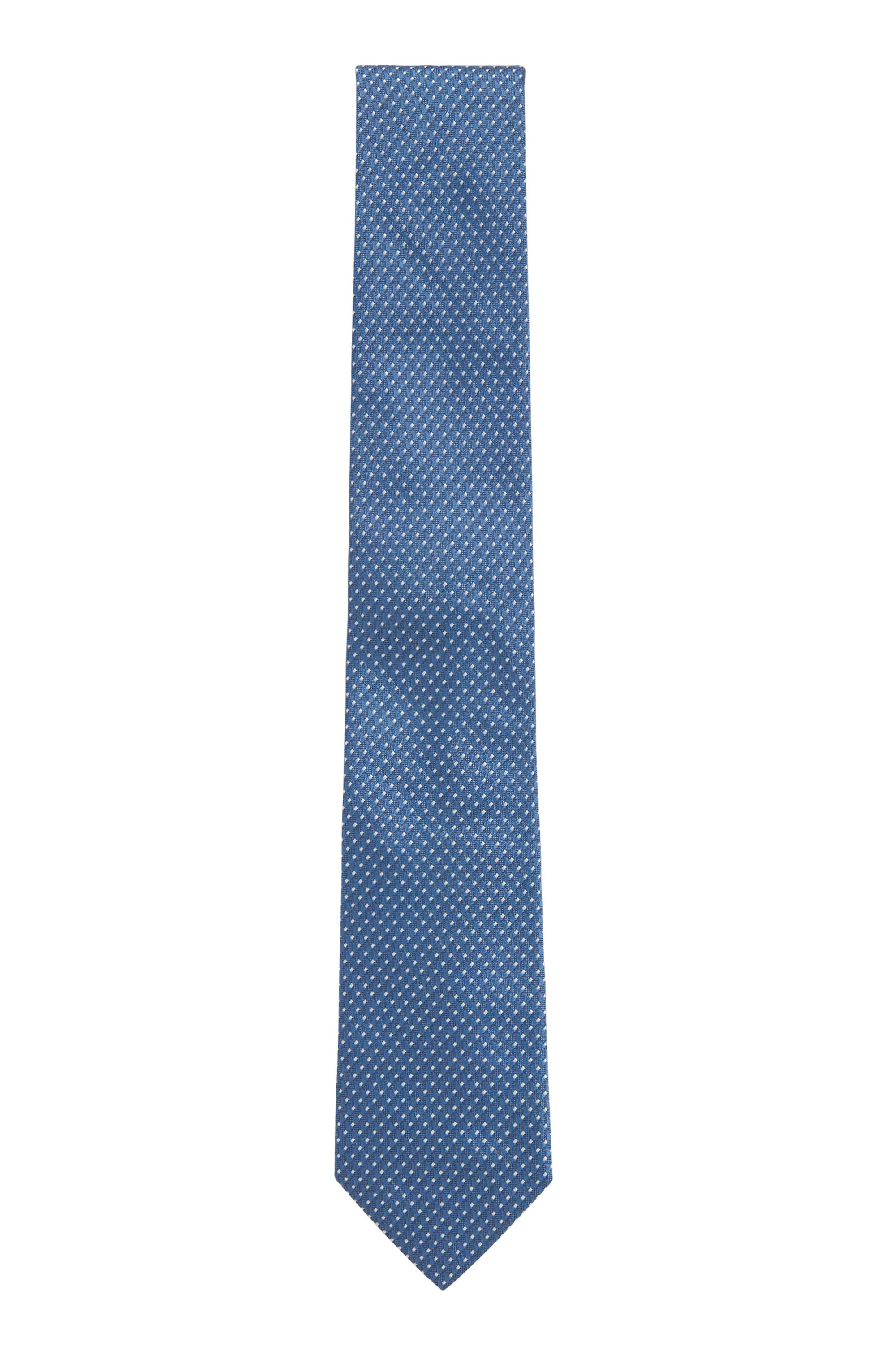 Tie in silk jacquard with micro pattern, Blue Patterned