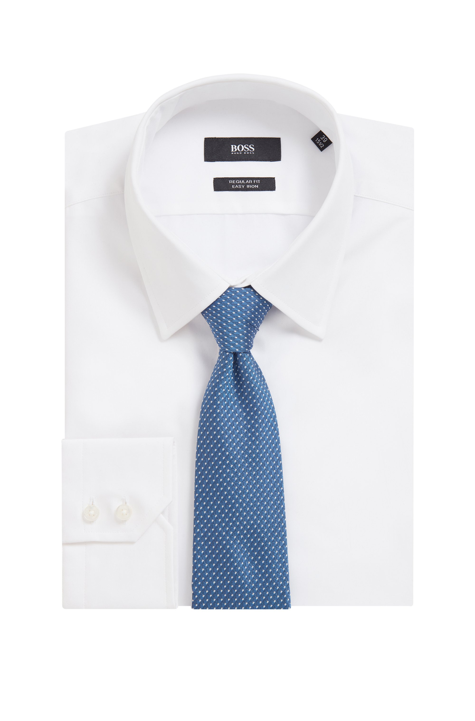 Tie in silk jacquard with micro pattern