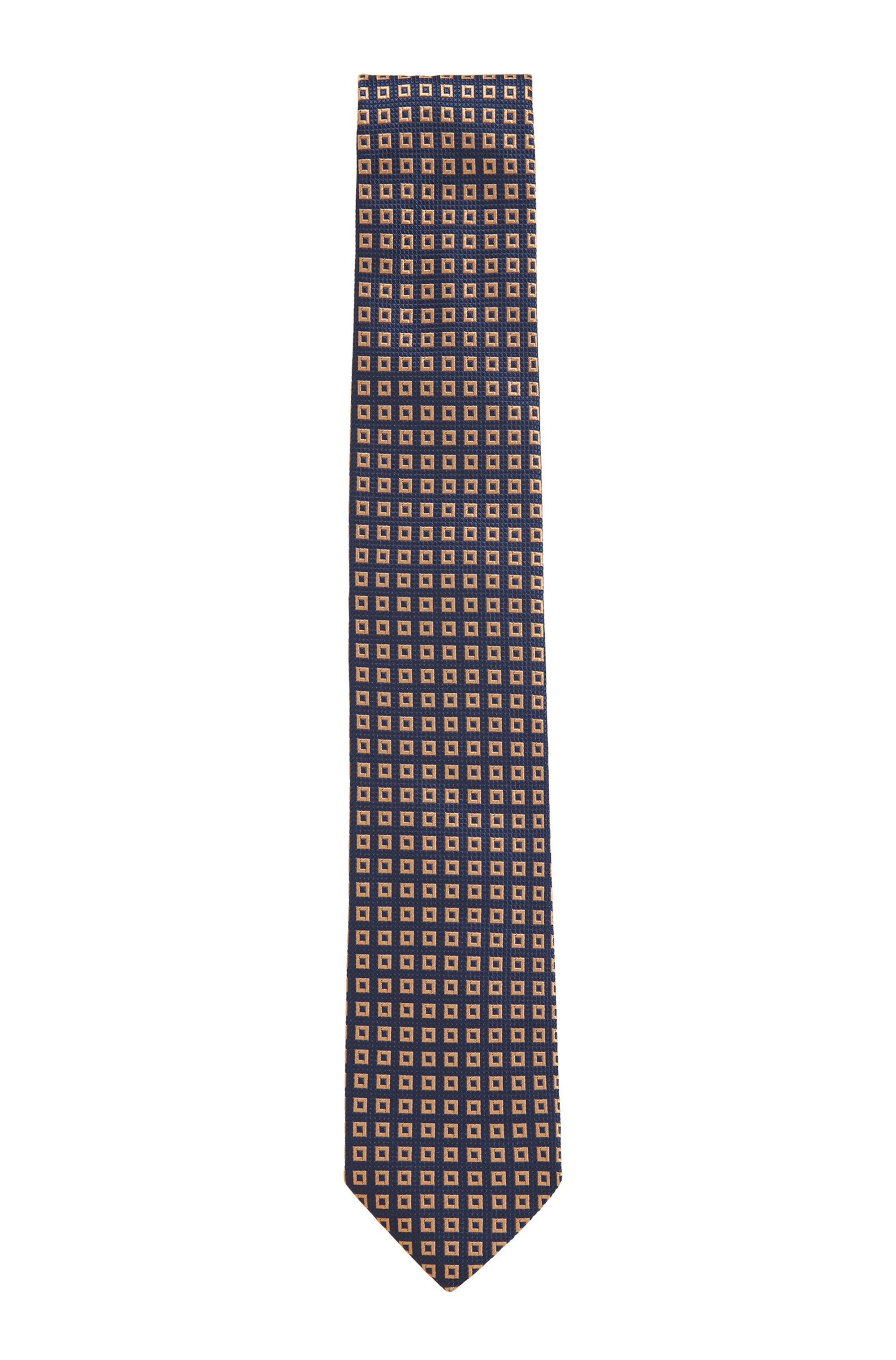 Tie in silk jacquard with square pattern, Black Patterned