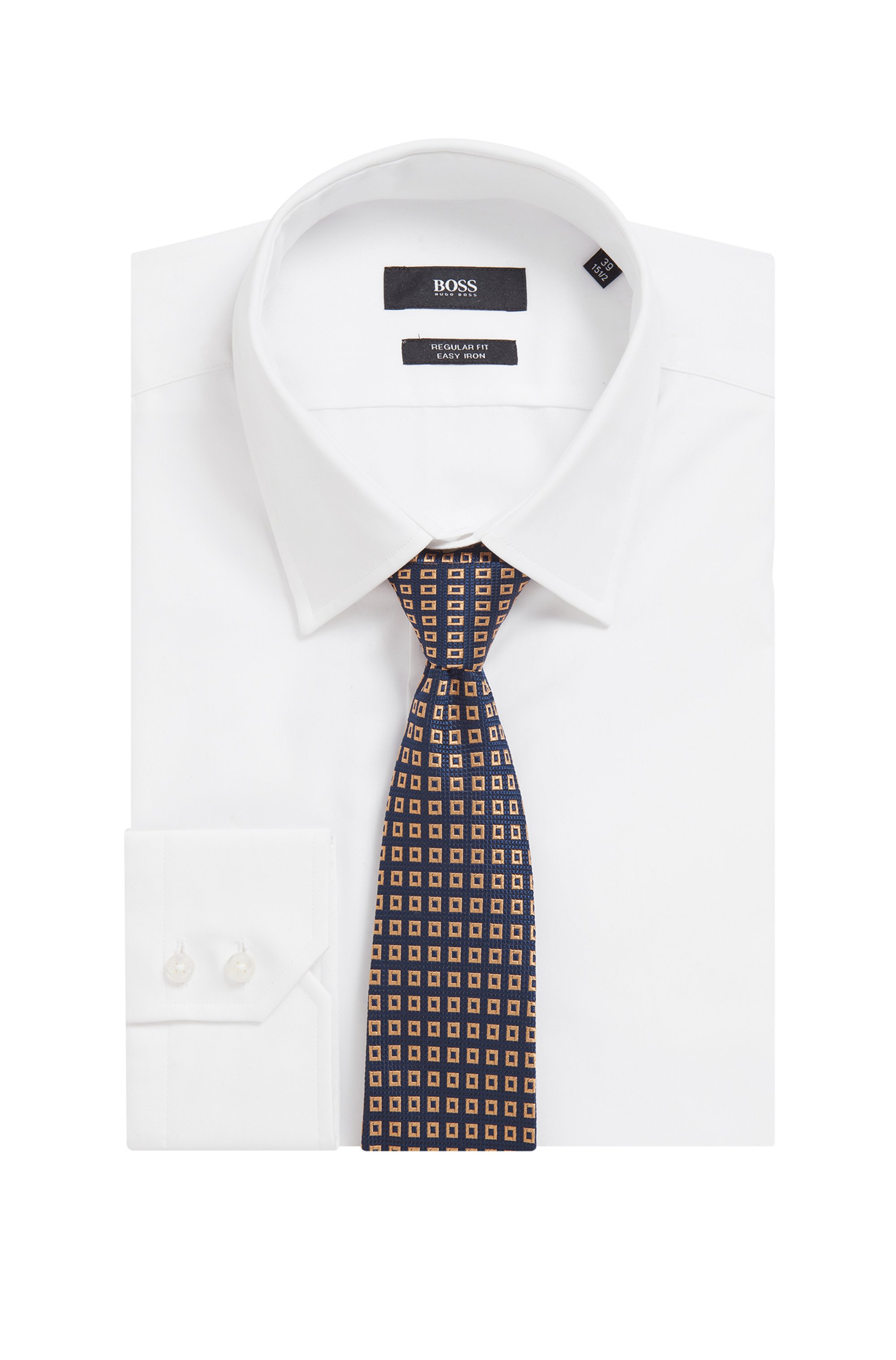 Tie in silk jacquard with square pattern