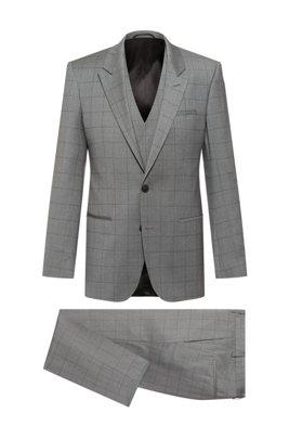 Three-piece slim-fit suit in checked virgin wool, Dark Grey