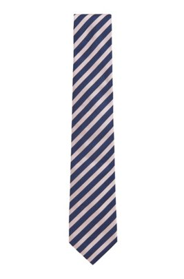 Italian-made silk tie with diagonal stripes, Blue Patterned