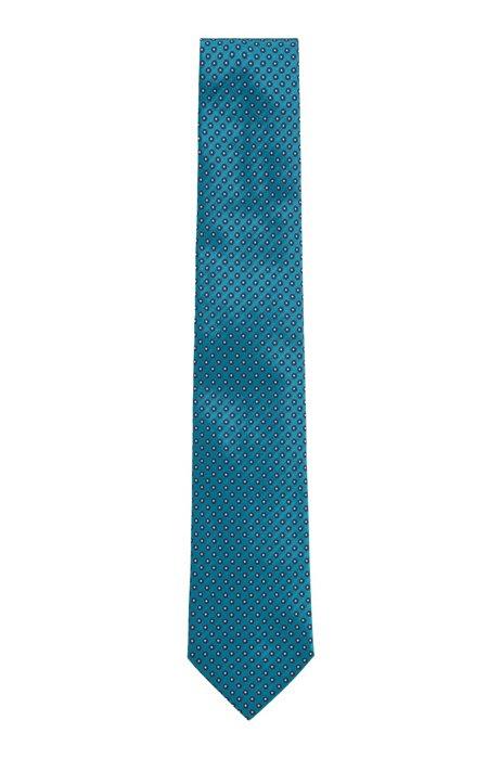 Italian-made silk tie with jacquard pattern, Dark Green