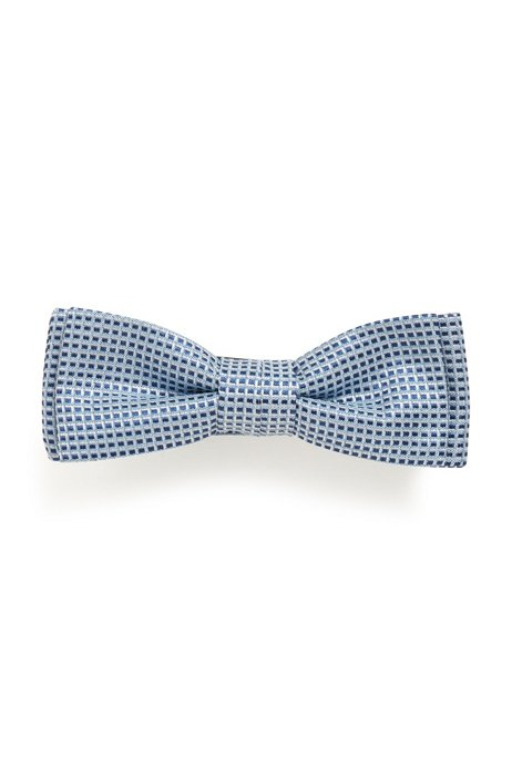 Micro-patterned bow tie in silk jacquard, Blue Patterned