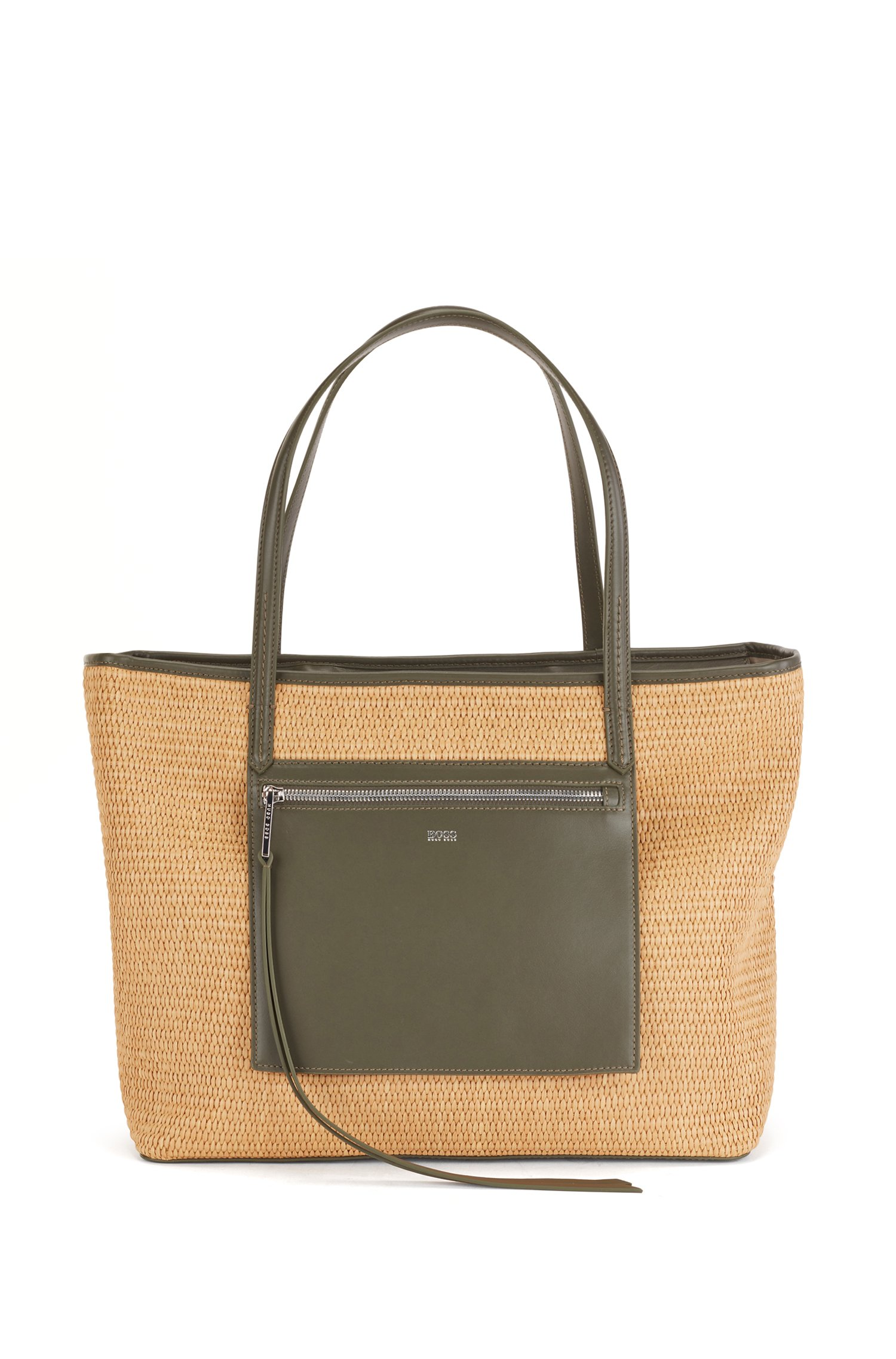 Raffia shopper bag with leather pocket and zip puller, White