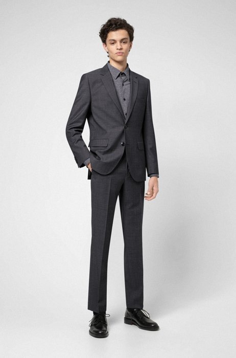 Regular-fit suit in patterned wool-blend cloth, Dark Grey