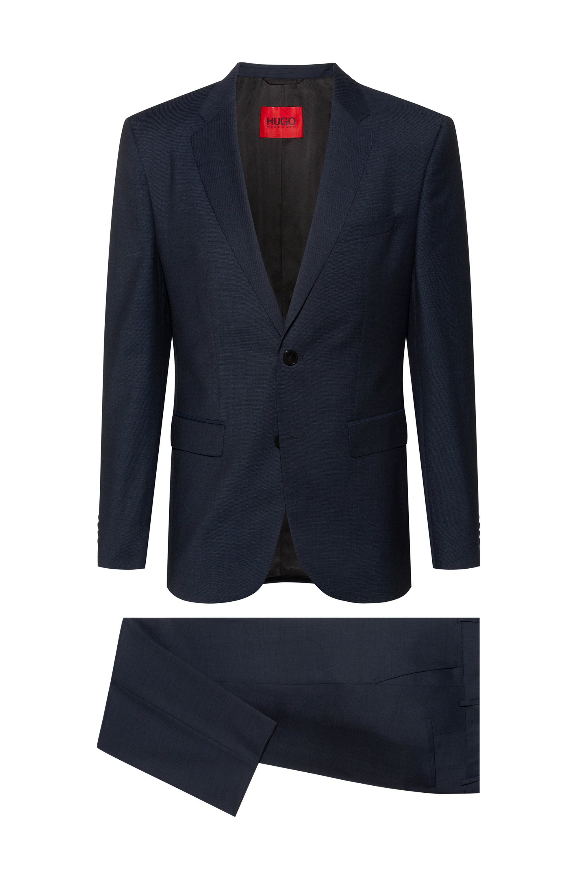 Regular-fit suit in patterned wool-blend cloth, Dark Blue
