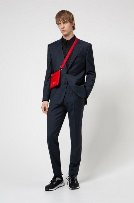 Regular-fit suit in patterned wool-blend cloth, Dark Blue