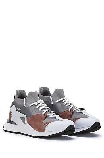 皮质网眼复古风套袜运动鞋,  060_Open Grey