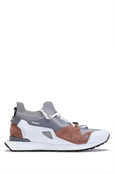 Sock sneakers di ispirazione rétro con dettagli in pelle scamosciata e rete, Grigio chiaro
