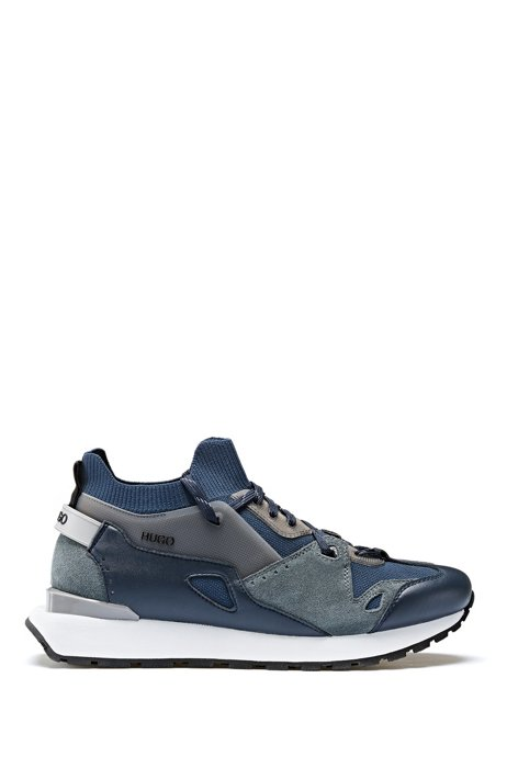 Retro-inspired sock trainers with suede and mesh, Blue