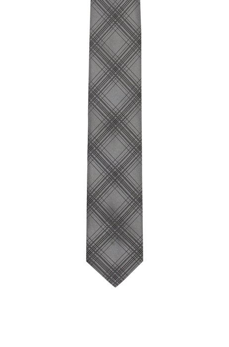 Checked tie in silk jacquard, Grey Patterned