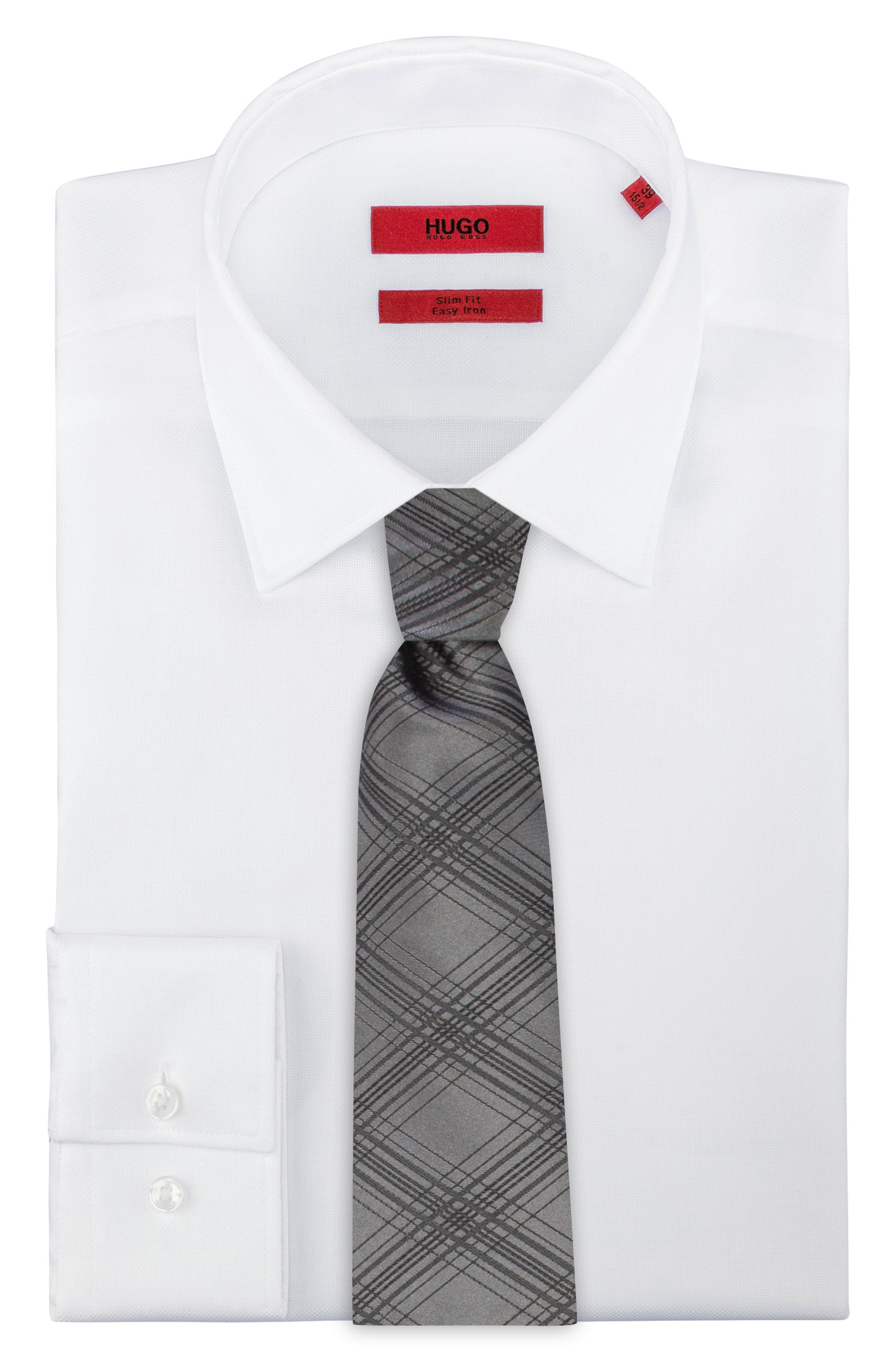 Checked tie in silk jacquard
