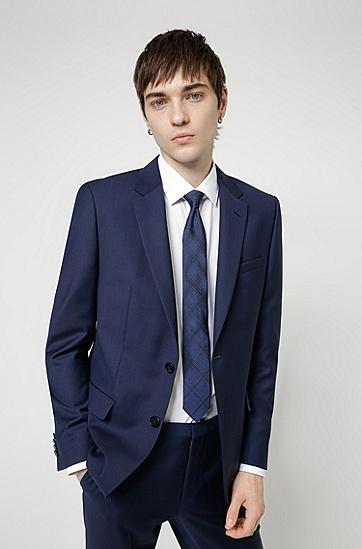 真丝提花格纹领带,  405_Dark Blue