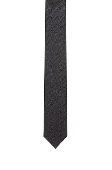 图案装饰真丝提花领带,  001_Black