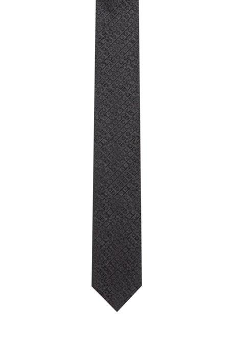 Stropdas van zijden jacquard met dessin, Zwart
