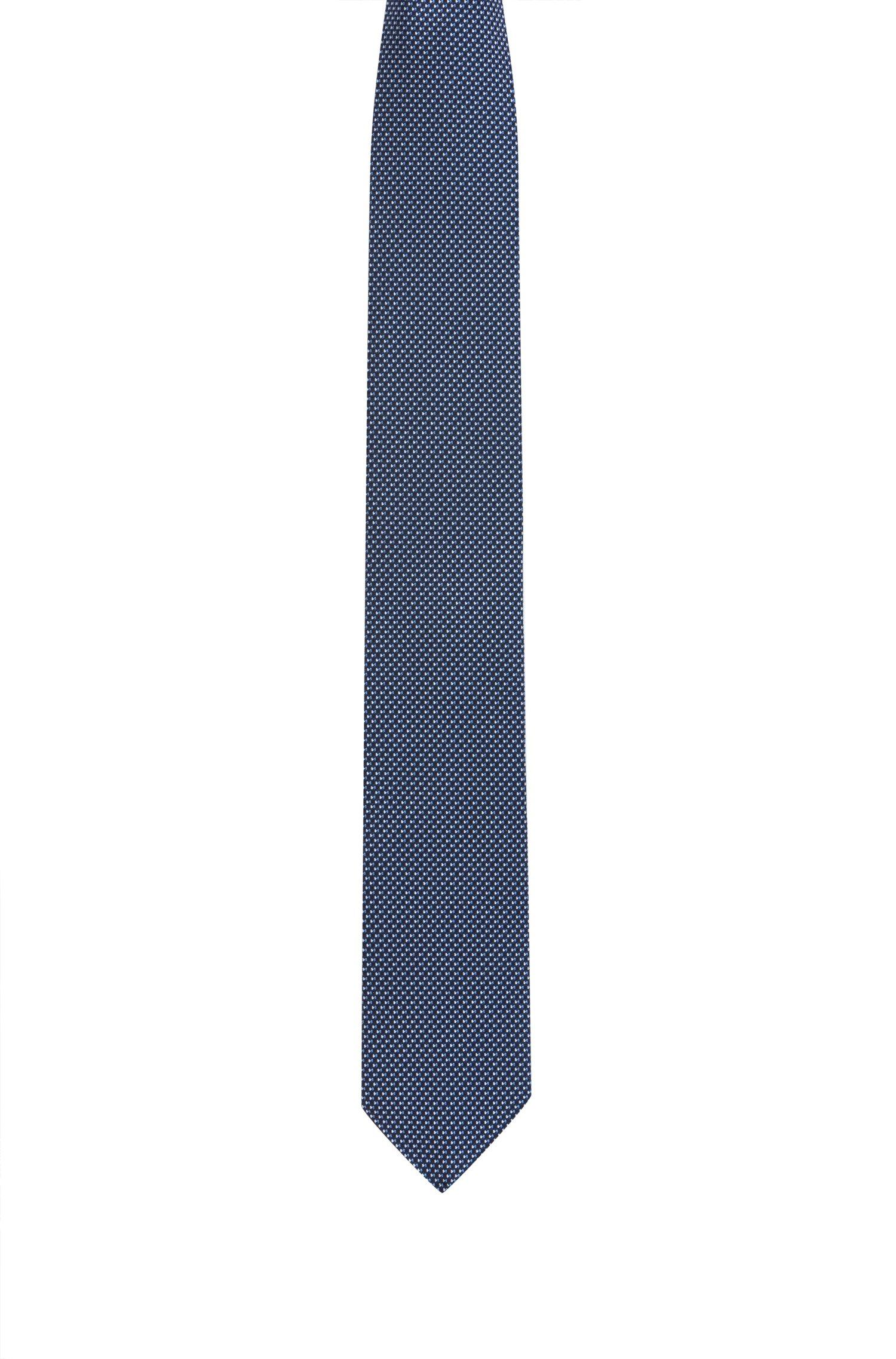 Stropdas in een jacquard van zijde met microdessin, Blauw met dessin