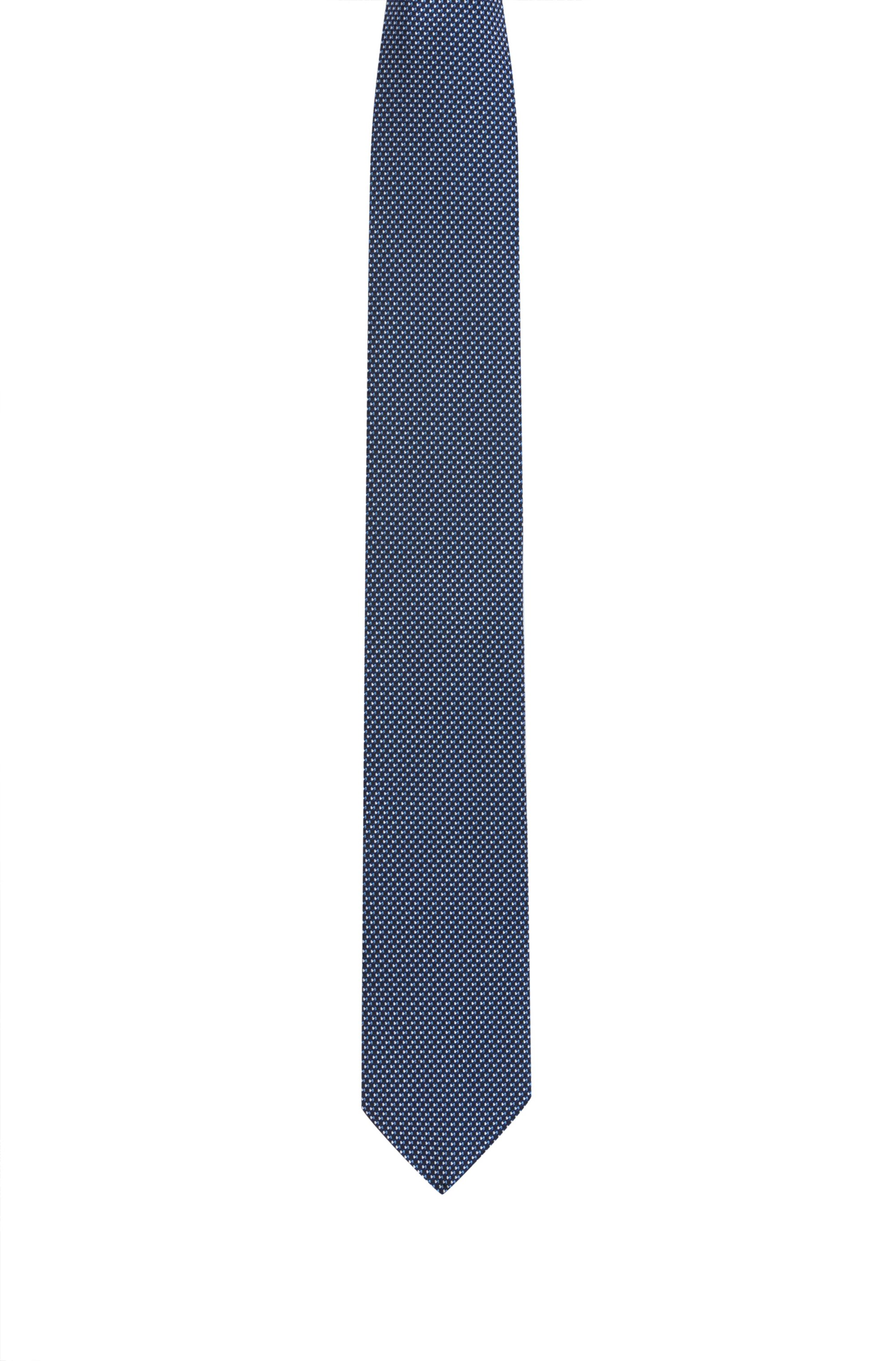 Silk-jacquard tie with micro pattern, Blue Patterned